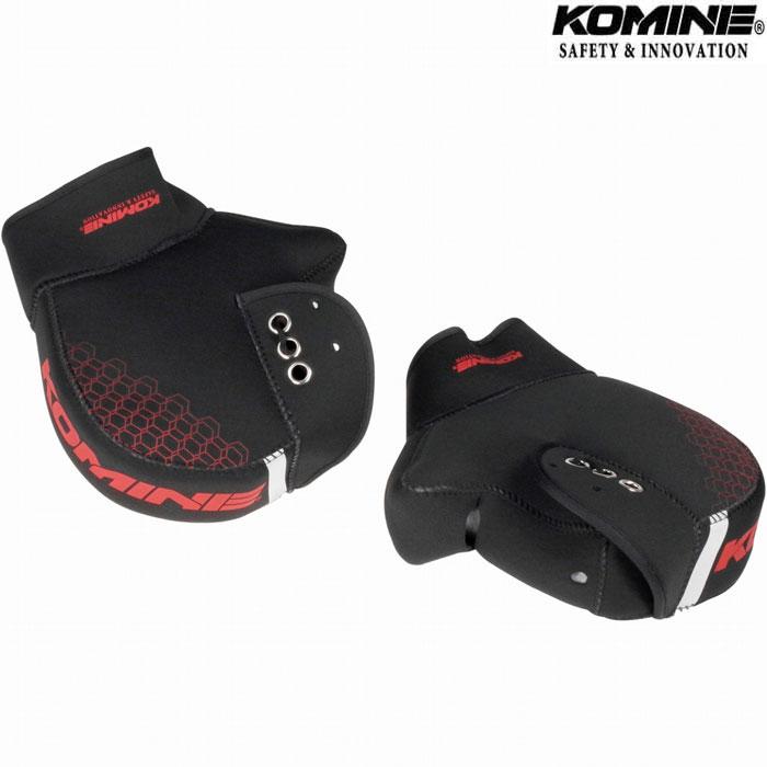 komine AK-348 ネオプレンハンドルウォーマープラス ブラック/レッド◆3色◆