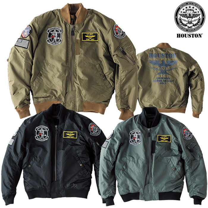HOUSTON 〔WEB価格〕HTVA1921W MA-1 BLACK KNIGHT M/C JAC ジャケット 防寒 防風