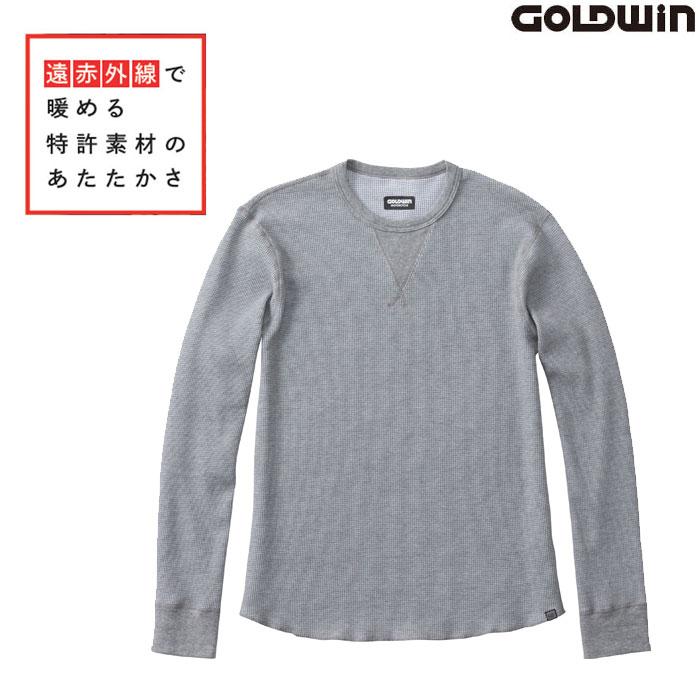 GOLDWIN GSM24954 光電子 ワッフル クルーネックシャツ グレー(H)◆全2色◆
