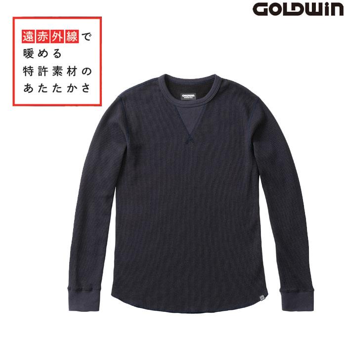 GOLDWIN GSM24954 光電子 ワッフル クルーネックシャツ ネービー(N)◆全2色◆