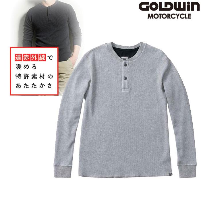 GOLDWIN GSM24955 光電子 ワッフル ヘンリーネックシャツ グレー(H)