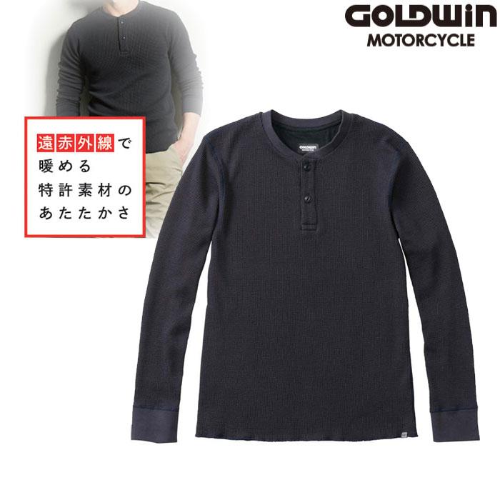 GOLDWIN GSM24955 光電子 ワッフル ヘンリーネックシャツ ネービー(N)
