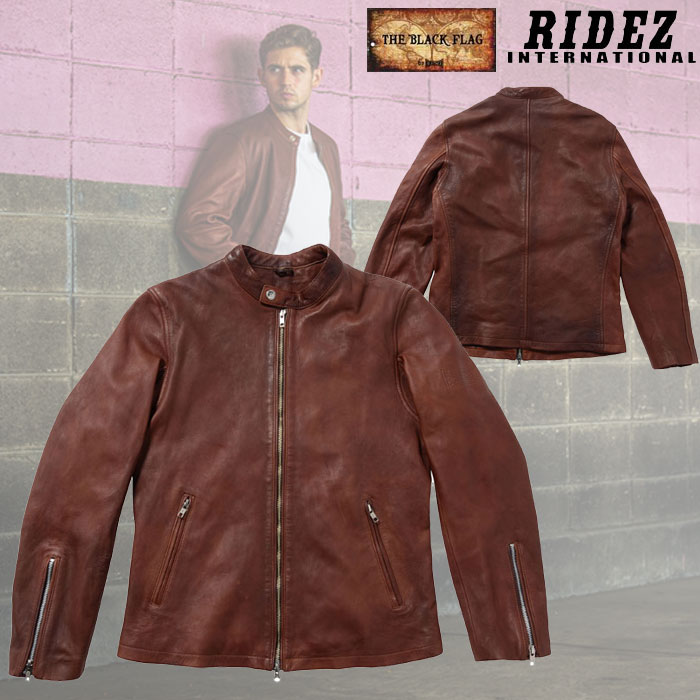 RIDEZ 〔WEB価格〕BFJ01 BLACKFLAG SINGLE RIDERS JACKET BROWN レザージャケット