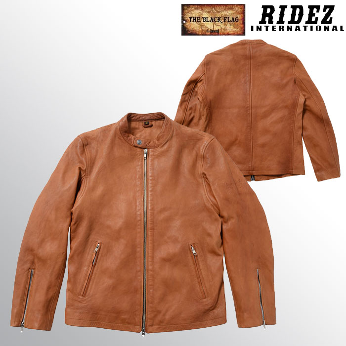 RIDEZ 〔WEB価格〕BFJ01 BLACKFLAG SINGLE RIDERS JACKET TAN レザージャケット