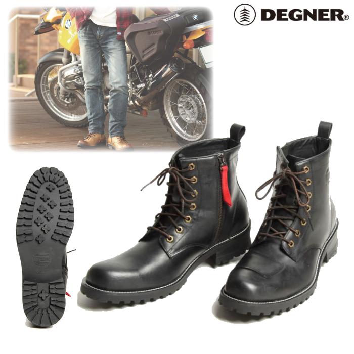 DEGNER HS-B6 シフトガード付レザージップブーツ ブラック◆全3色◆