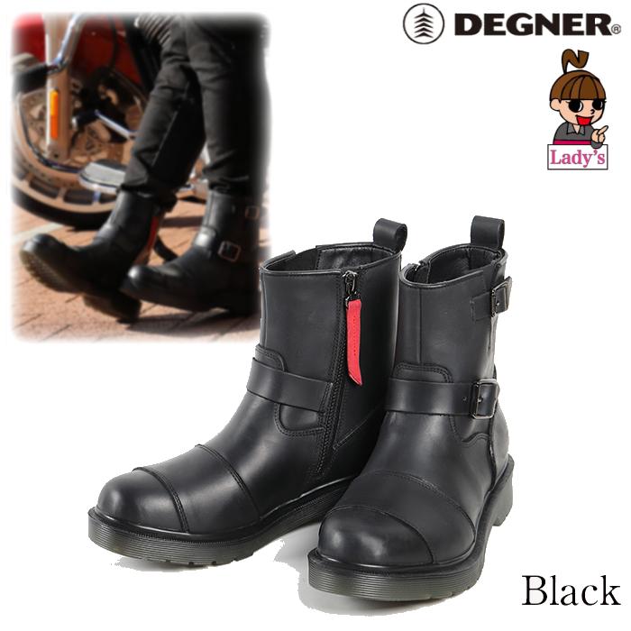 DEGNER (レディース)HS-B10 シフトガード付レザーZIPエンジニアブーツ ブラック◆全2色◆
