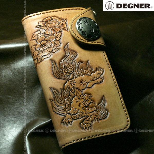 DEGNER 〔WEB価格〕 W-9B レザーウォレット「唐獅子・牡丹」