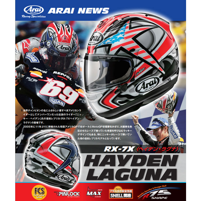 Arai RX-7X HAYDEN LAGUNA  [ヘイデン・ラグナ] フルフェイスヘルメット