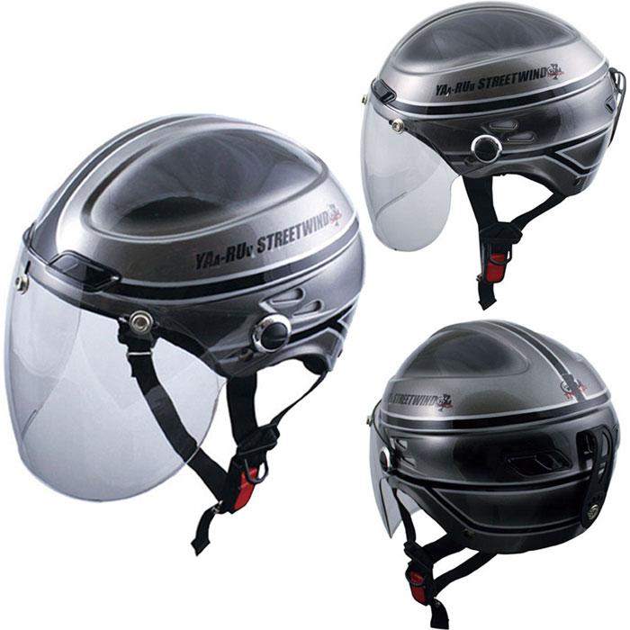 TNK工業 〔WEB価格〕 STR-Z JT VINTAGE シールド付 ハーフキャップ ヘルメット シルバーブラック FREEサイズ(58~59cm) 4984679511172
