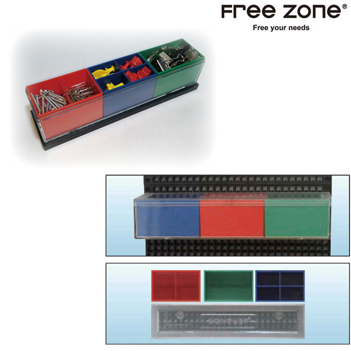 Free Zone FZ00092 1行ストレージビンセット(赤・青・緑)