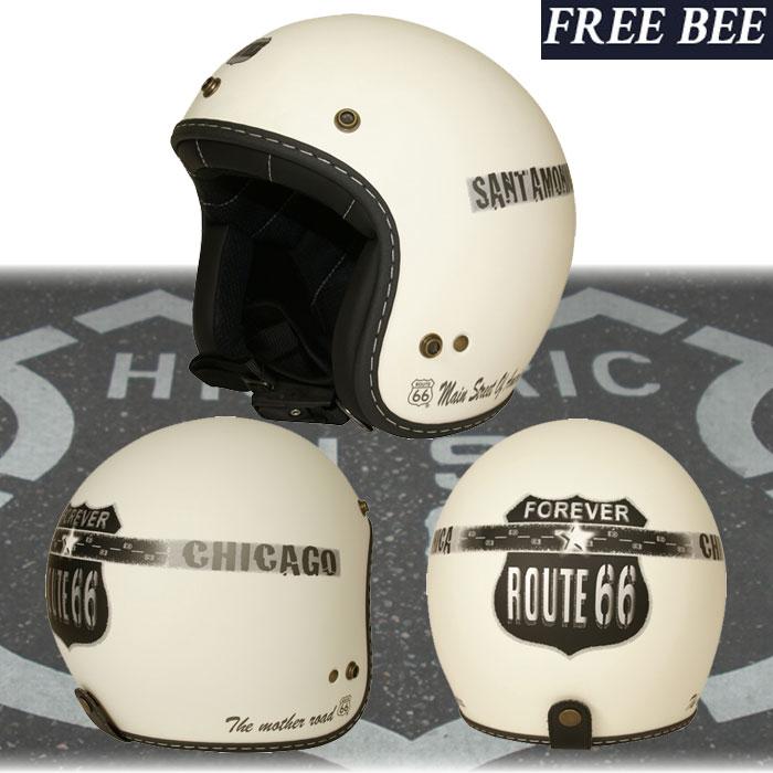〔WEB価格〕【2020年1月中旬発売予定】R66H-1501 ROUTE66 ジェットヘルメット OFF WHITE