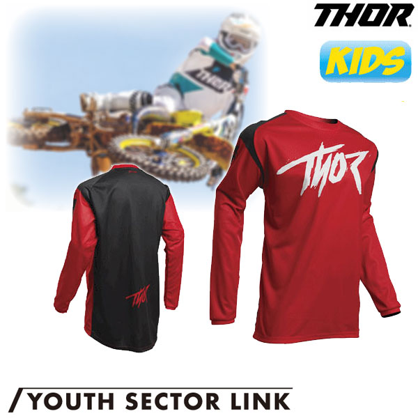 THOR 〔WEB価格〕【ユース】YOUTH SECTOR LINK MXジャージ レッド◆全5色◆