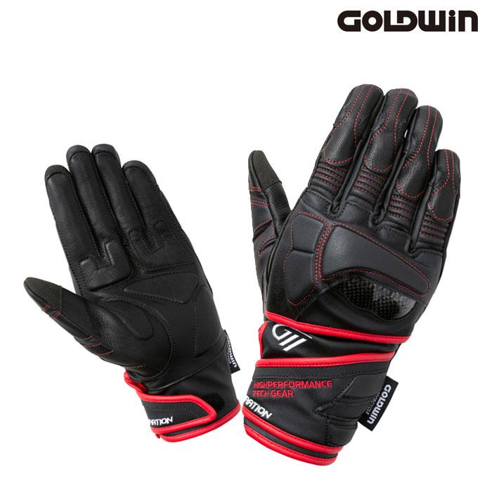 GOLDWIN 〔WEB価格〕★新作★GSM26001 リアルライドプロテクションレザーグローブ ブラック×レッド(KR)◆全2色◆