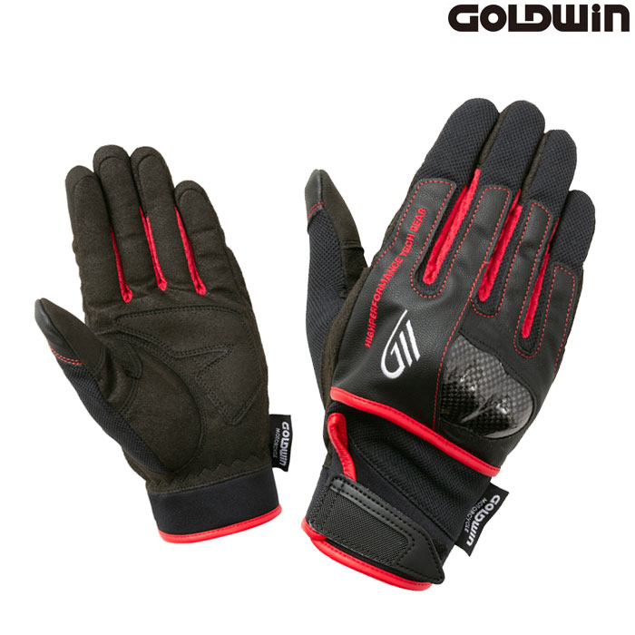 GOLDWIN 〔WEB価格〕★新作★GSM26011 ロードメッシュプロテクショングローブ ブラック×レッド(KR)◆全5色◆