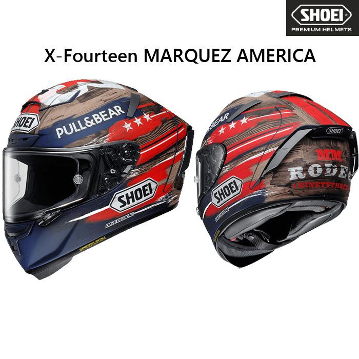 SHOEI ヘルメット 〔WEB価格〕【3月発売予定】 X-Fourteen MARQUEZ AMERICA 【エックス-フォーティーン マルケス アメリカ】 フルフェイスヘルメット
