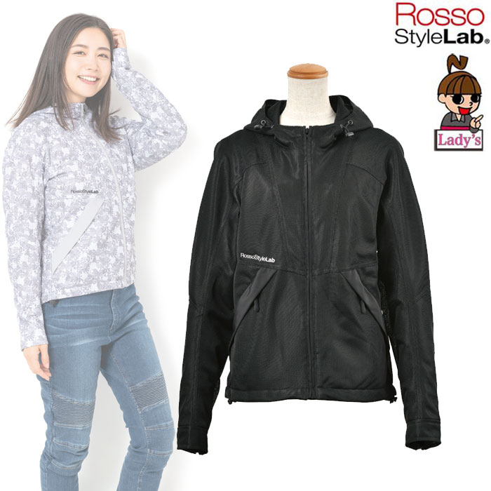 J-AMBLE (レディース)ROJ-89 フーデッドメッシュジャケット BLACK ◆全3色◆