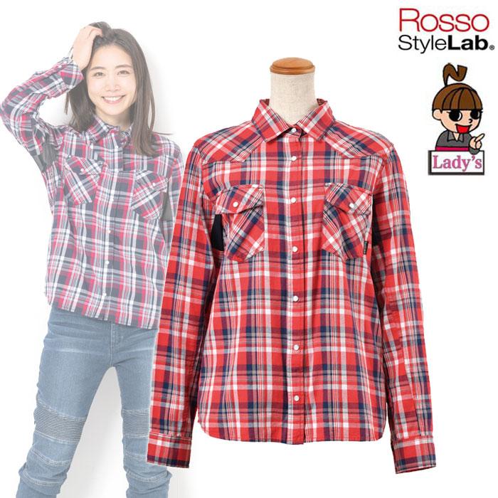 〔WEB価格〕★新作★【レディース】 ROJ-92 プロテクションレギュラーカラーシャツ RED CHECK ◆全3色◆