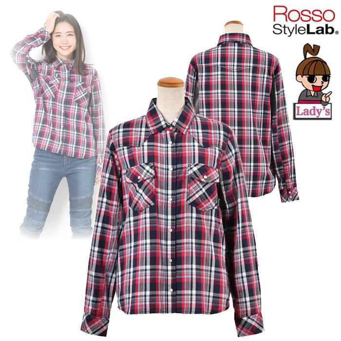 〔WEB価格〕★新作★【レディース】 ROJ-92 プロテクションレギュラーカラーシャツ NAVY CHECK ◆全3色◆
