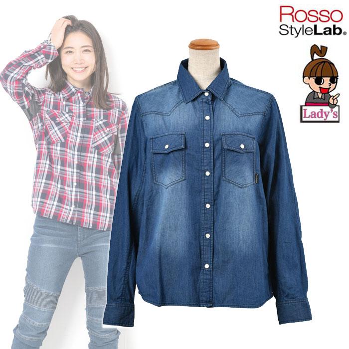 J-AMBLE 〔WEB価格〕★新作★【レディース】 ROJ-92 プロテクションレギュラーカラーシャツ DENIM ◆全3色◆