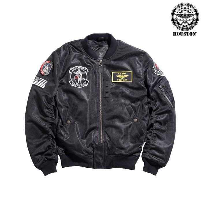 HOUSTON 〔WEB価格〕★新作★ HTVA2021S MA-1 BLACK KNIGHTS MESH M/C ジャケット ブラック ◆全2色◆