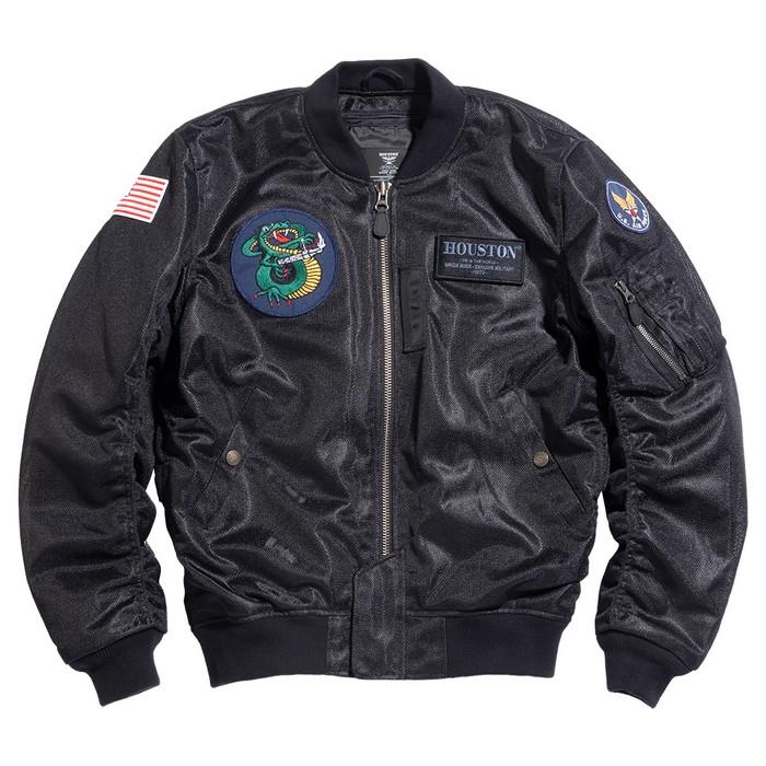 HOUSTON HTVA2031S MA-1 CUSTOM MESH M/C ジャケット ブラック◆全3色◆