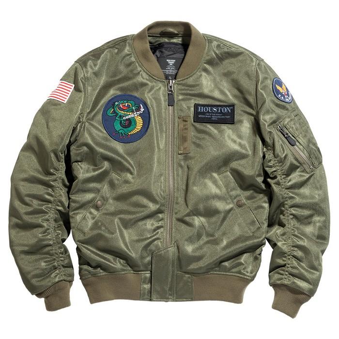HOUSTON HTVA2031S MA-1 CUSTOM MESH M/C ジャケット カーキ◆全3色◆