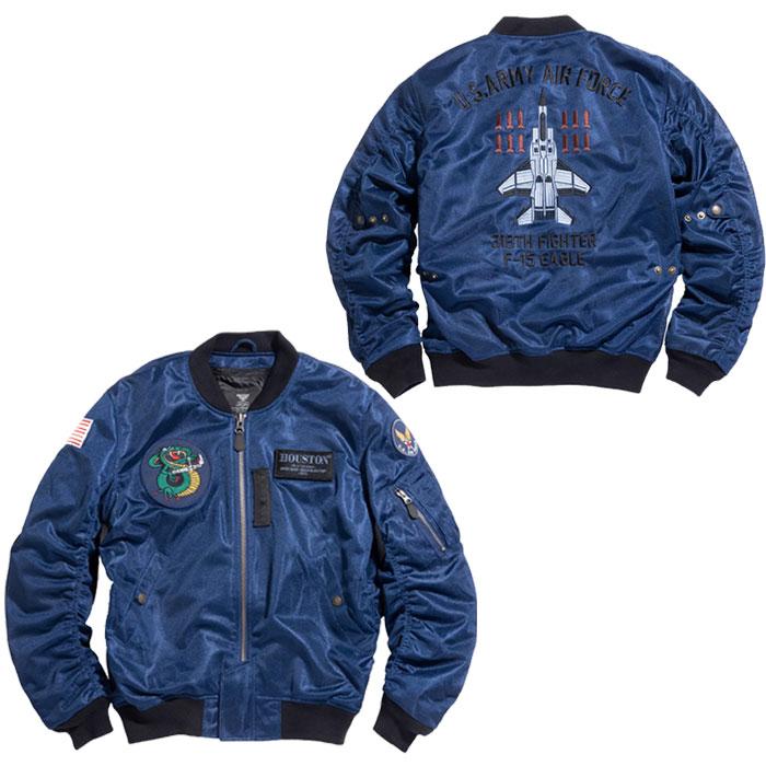 HOUSTON HTVA2031S MA-1 CUSTOM MESH M/C ジャケット ネイビー◆全3色◆