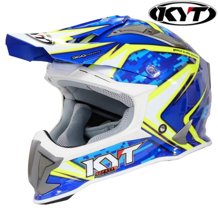KYT 〔WEB価格〕【STRIKE EAGLE】リーフ ブルー/イエロー ホワイトトリム グラフィックモデル オフロードヘルメット