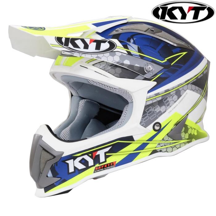 KYT 〔WEB価格〕【STRIKE EAGLE】ウエブマット ホワイト/ブルー ホワイトトリム グラフィックモデル オフロードヘルメット(限定モデル)