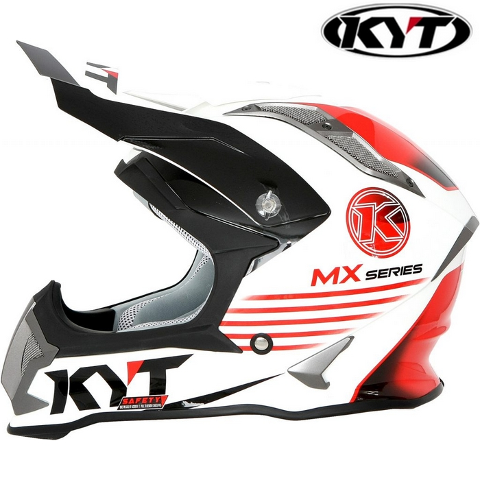 KYT 【STRIKE EAGLE】K-MX シリーズ ホワイト/レッド グラフィックモデル オフロードヘルメット