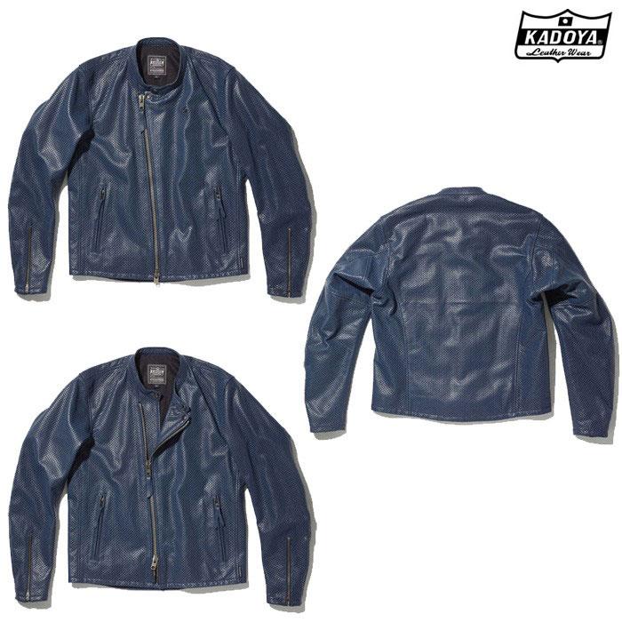 KADOYA 1305 PL-SW レザージャケット(大きいサイズ) ネイビー ◆全2色◆