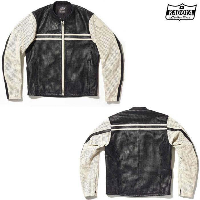 KADOYA (大きいサイズ) 1304 PL-SUNTAILOR レザージャケット ブラック/アイボリー ◆全2色◆