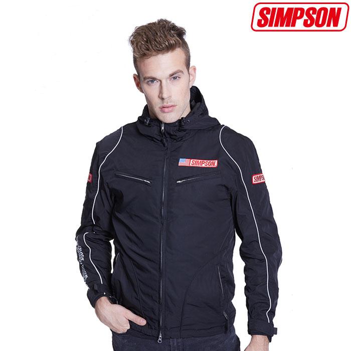 SIMPSON 〔WEB価格〕★新作★NSM-2008 ナイロンフーデッドジャケット ブラック◆全3色◆