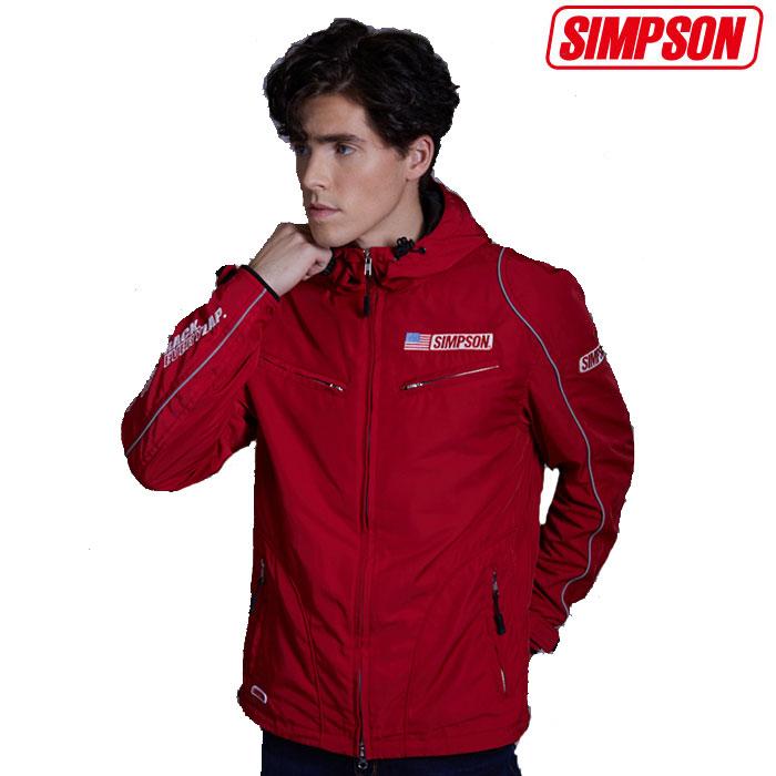 NSM-2008 ナイロンフーデッドジャケット レッド◆全3色◆