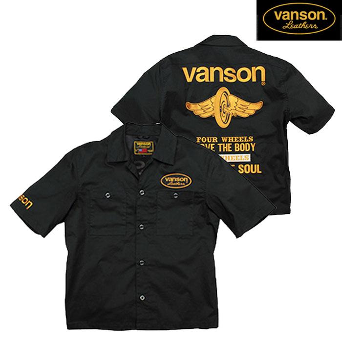 VANSON VS20108S ワークシャツ ブラック/イエロー◆全3色◆