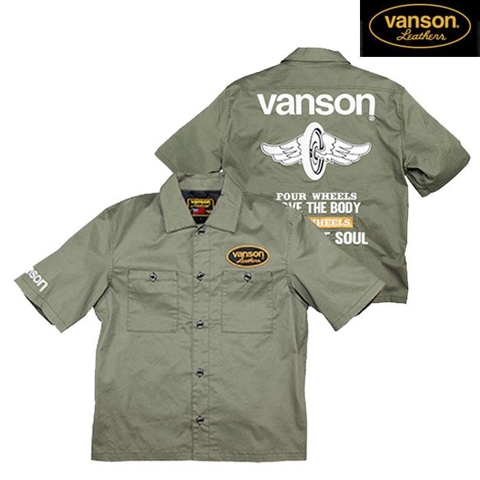 VANSON 〔WEB価格〕★新作★VS20108S ワークシャツ カーキ◆全3色◆