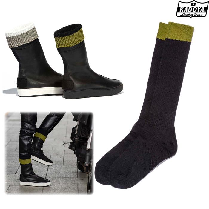KADOYA 8031 BOOTS SOCKS ブーツソックス 靴下 ブラック×カーキ ◆全2色◆
