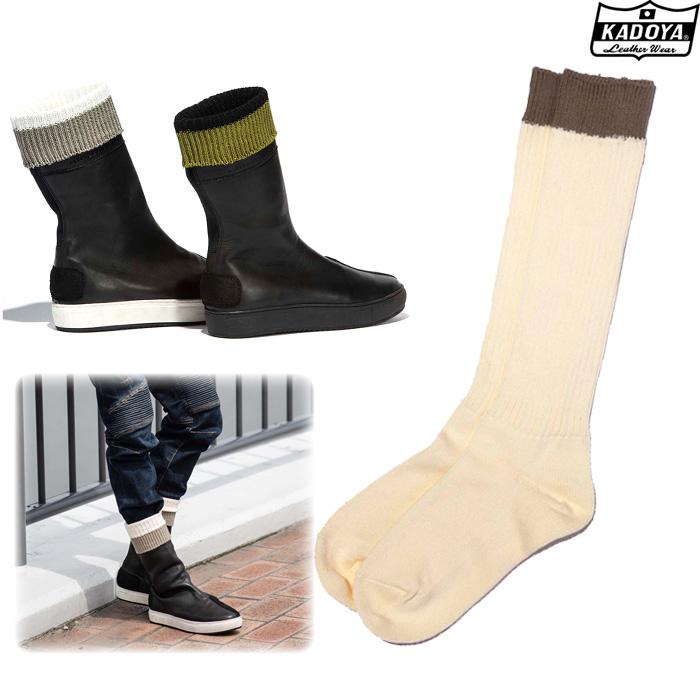 KADOYA 8031 BOOTS SOCKS ブーツソックス 靴下 アイボリー×グレイ ◆全2色◆