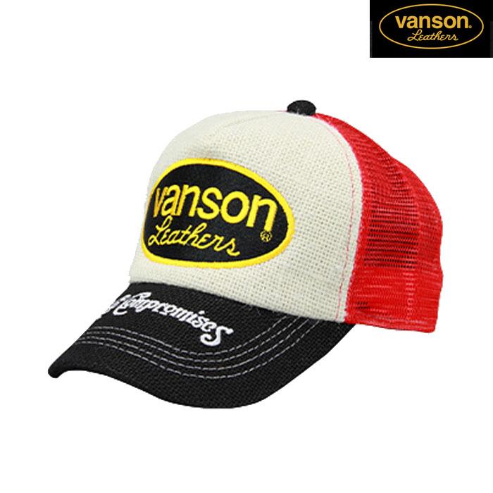 VANSON VS20701S メッシュキャップ 春夏用 ブラック/レッド◆全3色◆