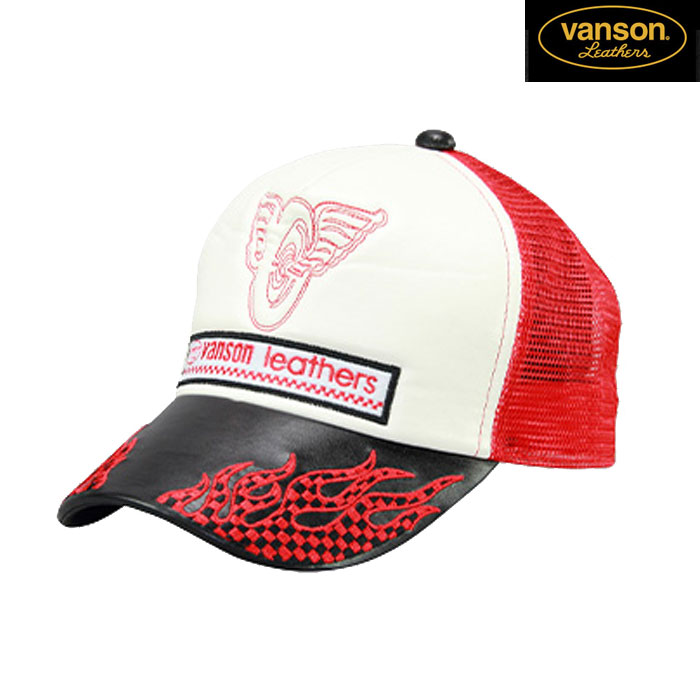 VANSON VS20702S メッシュキャップ 春夏用 ブラック/レッド◆全3色◆