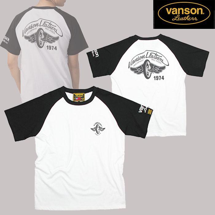 VANSON VS20805S コットンラグランTシャツ ホワイト/ブラック◆全3色◆