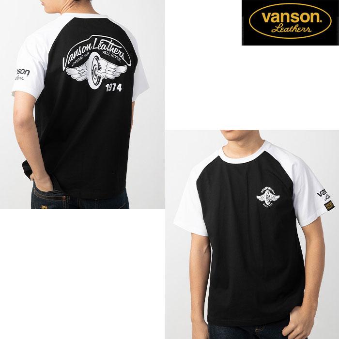 VANSON VS20805S コットンラグランTシャツ ブラック/ホワイト◆全3色◆