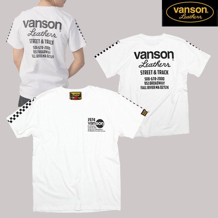 VANSON VS20806S コットンTシャツ ホワイト/ブラック◆全3色◆