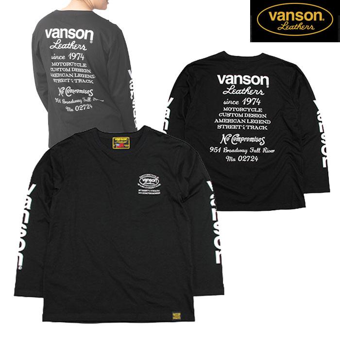 VANSON VS20807S コットンロンT ブラック/ホワイト◆全3色◆