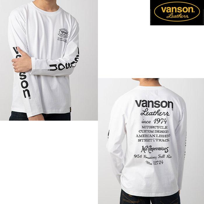 VANSON 〔WEB価格〕VS20807S コットンロンT ホワイト/ブラック◆全3色◆