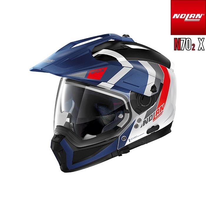 NOLAN NOLAN N702 X デクリオ メタルホワイト/フラットインペリアルブルー/33 アドベンチャークロスオーバーヘルメット