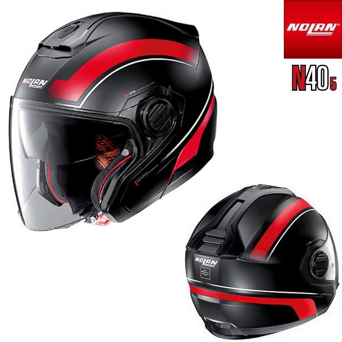 NOLAN NOLAN N405 リソリュート フラットブラック/レッド/17 ジェットヘルメット
