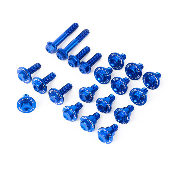 DIRTFREAK 【WEB価格】ZE88-5256 ZETA アルミボルトセット ガイソウヨウ KX450F'16- 21pcs BLUE