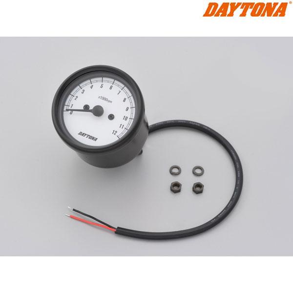 DAYTONA 15631 機械式タコメーター φ60 ホワイトLED照明 ブラックボディ/ホワイトパネル