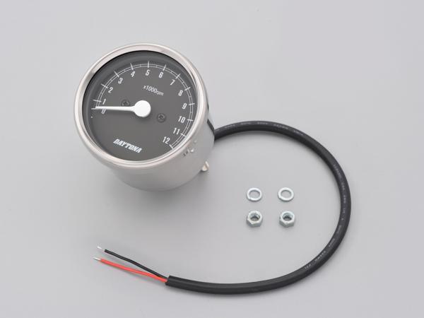 DAYTONA 15641 機械式タコメーター φ60 ホワイトLED照明 ステンレスボディ/ブラックパネル